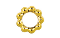 Closed Beaded Ring 6mm Gold Plated x 12
