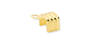 Fold Over Cord End Gold Plated x 12