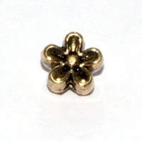 Flower Bead 6.5mm Antique Gold Plated x10