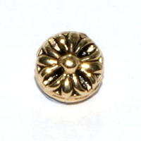 Flower Bead 8mm Antique Gold Plated x10
