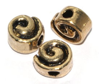 9mm Swirl Bead Antique Gold Plated x1