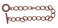 Bracelet Blank & Toggle Antique Copper Plated x 1