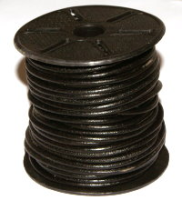 Black 2mm Round Leather Cord x 1 yard