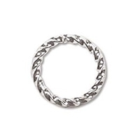 8mm Twisted Jump Ring Silver Plated x 12