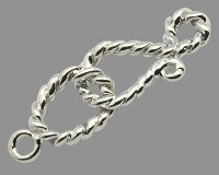 Rope Hook & Eye Clasp Rhodium Plated x 1