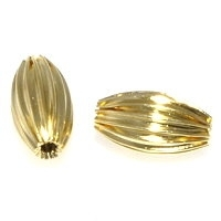 Fluted Rice Bead Gold Plated x10