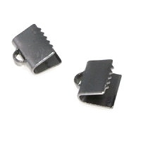 Ribbon End Clasp 7mm Gunmetal Plated x 10