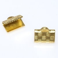 Ribbon End Clasp 13mm Gold Plated x 10