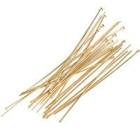 "1.5"" Head Pin (35mm x 0.7mm) Gold Plated x 144"