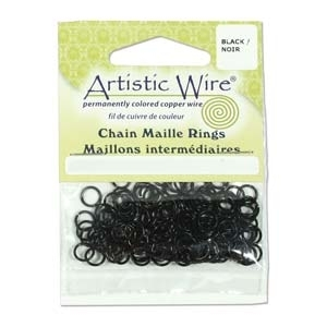 "18 Gauge (1/8"") Black Plated Chain Maille Rings x 1pk"