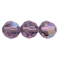 Purple Lustre 6mm Crystal Round Beads x 35