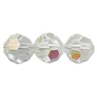 Crystal (AB) 6mm Crystal Round Beads x 35