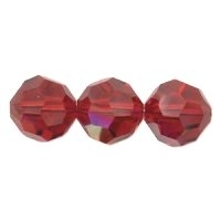 Deep Red Lustre 8mm Crystal Round Beads x 25