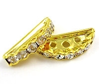 Crystal Half Moon 3 Hole Spacer Bar Gold Plated x 4