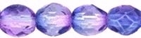 Blue Violet 6mm  Czech Fire-Polish Beads x 25