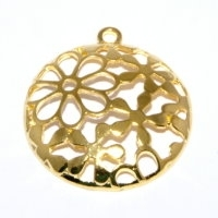 Round Pendant 30mm Gold Plated x 1