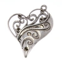 Heart Pendant 30mm Antique Silver Plated x 1