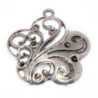 Flower Pendant 32mm Antique Silver Plated x 1