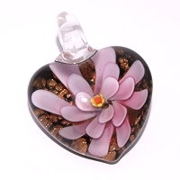 Black & Pink Glass Heart Pendant
