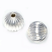 Fluted 12mm Round Silver Plated Beads x 50