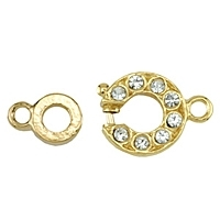 Beadalon Crystal Spring Ring Clasp Gold Plated x 1