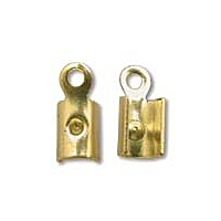 Round Cord End Gold Plated x 12