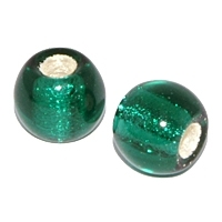 Emerald Silver Foil 12mm Round Bead x 1