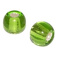 Lime Silver Foil 12mm Round Bead x 1