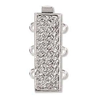 Rectangle Clasp 3 Strand Rhodium Plated x 1