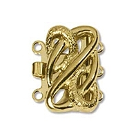 Square Clasp 3 Strand Gold Plated x 1