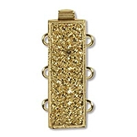 Rectangle Clasp 3 Strand Gold Plated x 1