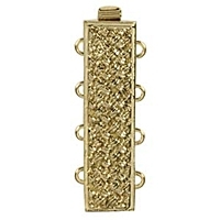 Rectangle Clasp 4 Strand Gold Plated x 1