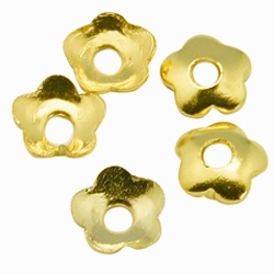 4mm Small Flower Bead Cap Gold Plated x 50
