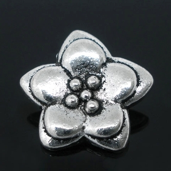 Small Flower Pendant Antique Silver Plated x 2