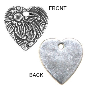 Non-Tarnish Silver Plated Embossed 12mm Floral Heart x 1