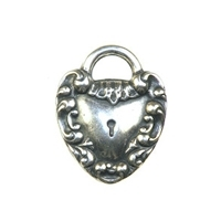 Non-Tarnish Silver Plated Heart Lock Charm x 1