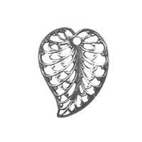 Non-Tarnish Silver Plated Filigree Leaf Charm x 1