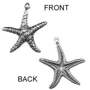 Non-Tarnish Silver Plated Star Fish Charm Double Sided x 1