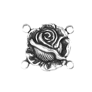 Non-Tarnish Silver Plated Rose 4 Ring Connector x 1