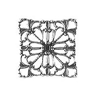 Non-Tarnish Silver Plated Filigree Square x 1