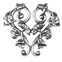 Non-Tarnish Silver Plated Morning Glory Heart Pendant x 1