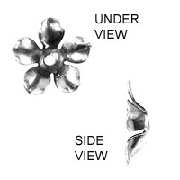 Non-Tarnish Silver Plated Flower Stamping x 1