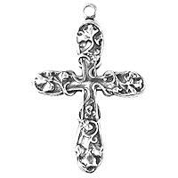 Non-Tarnish Silver Plated Medium Floral Cross x 1