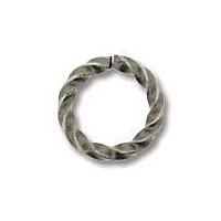 Antique Silver Plated 8mm Twisted Open Jump Ring x 12