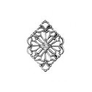 Non-Tarnish Antique Silver Plated Diamond Filigree x 1