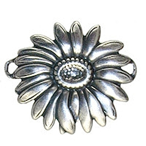 Non-Tarnish Antique Silver Plated 2 Ring Sunflower Connector x 1
