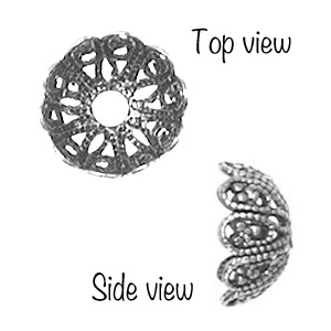 Non-Tarnish Antique Silver Plated 12mm Filigree Bead Cap x 1
