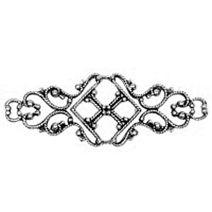 Non-Tarnish Antique Silver Plated Filigree Bar x 1