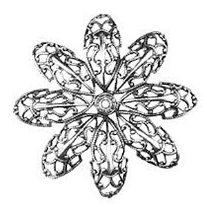 Non-Tarnish Antique Silver Plated Dahlia Filigree Petal x 1