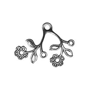 Non-Tarnish Antique Silver Plated Flower Drop x 1